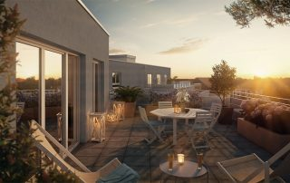 Visualisierung Balkon bei Sonnenuntergang