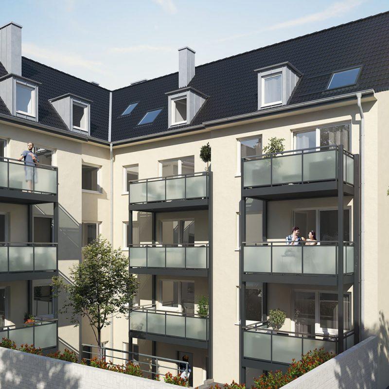 Außenansicht: Ehrenfeld Hansemannstraße, Balkone im Hinterhof
