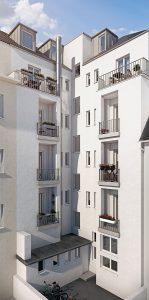 Ansicht der Balkone an der Rückseite des Gebäudes