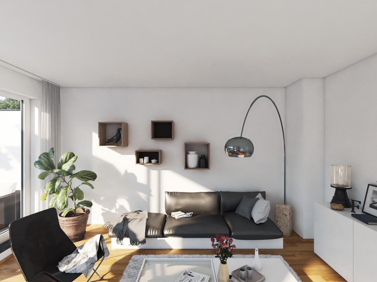 Ansicht einer Couch mit bogenförmiger Stehlampe