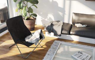Ansicht eines Sessels und einer Couch mit einer Zimmerpflanze im Hintergrund