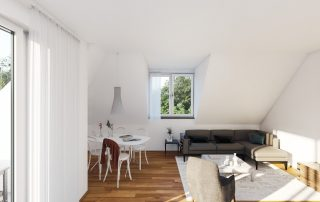 Blick in ein Wohnzimmer mit Esstisch und Couchecke