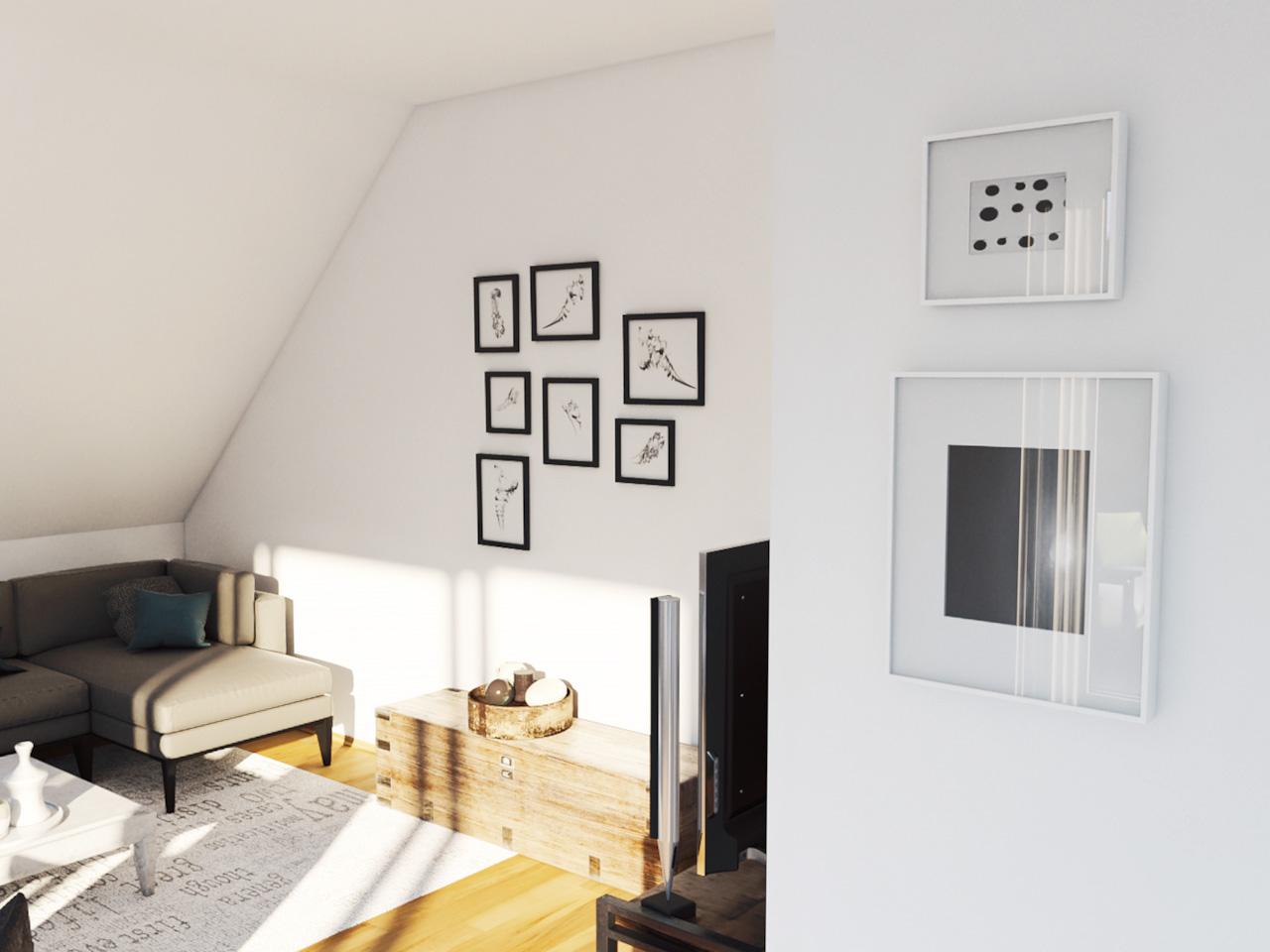 Blick auf eine Couchecke unter einer Dachschräge