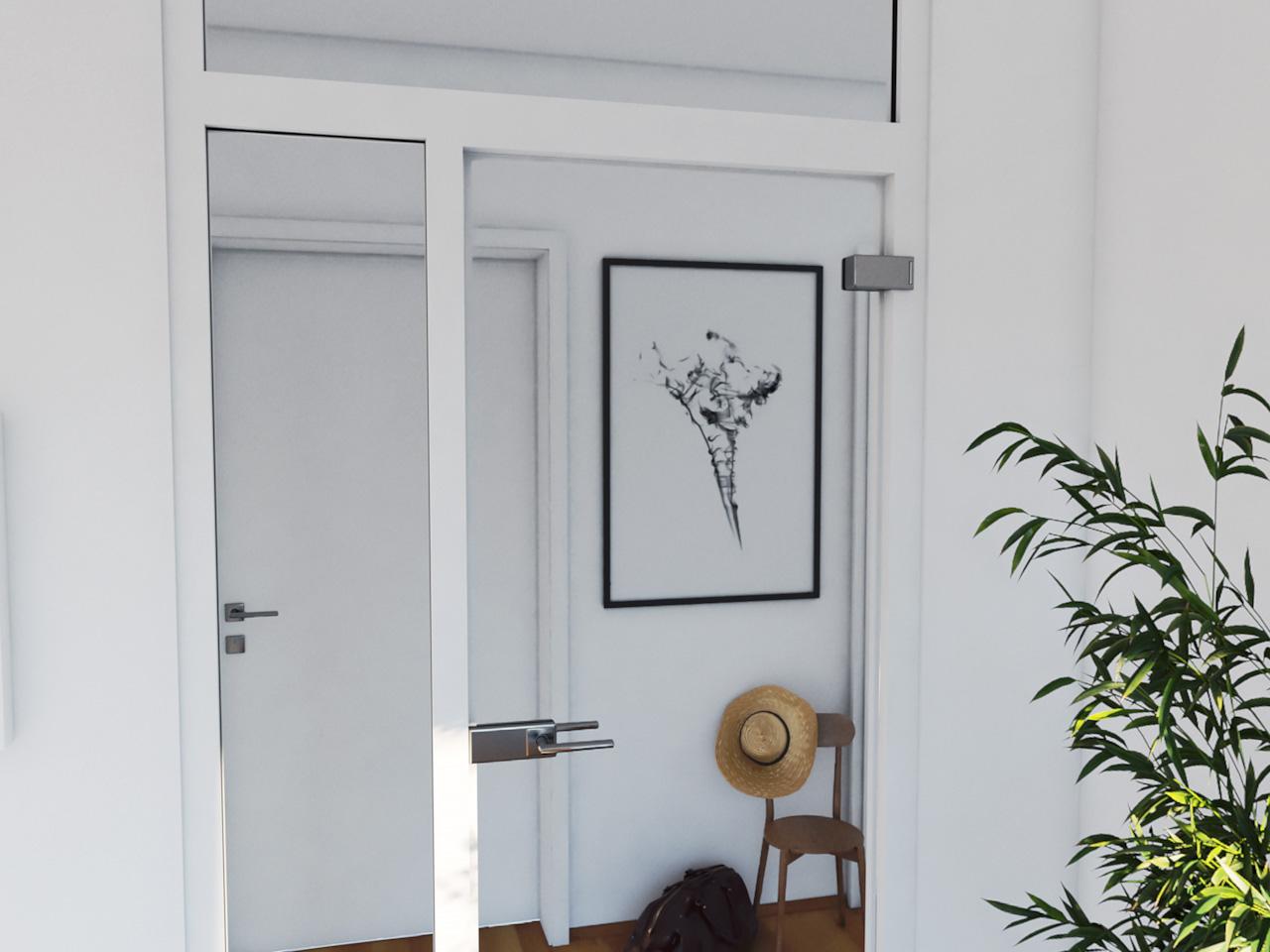 Blick durch eine Glastür in den Flur