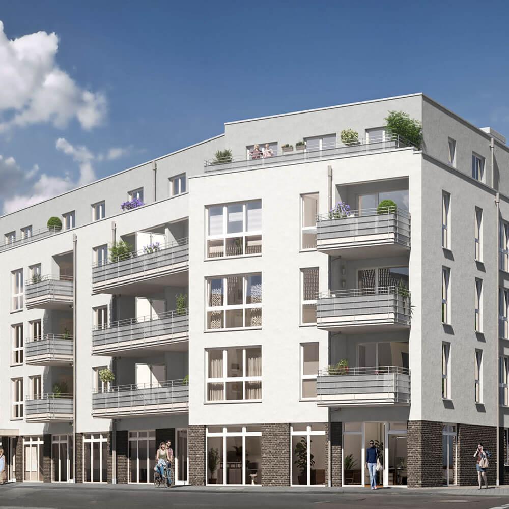 Außenansicht Mehrfamilienhaus mit Balkonen