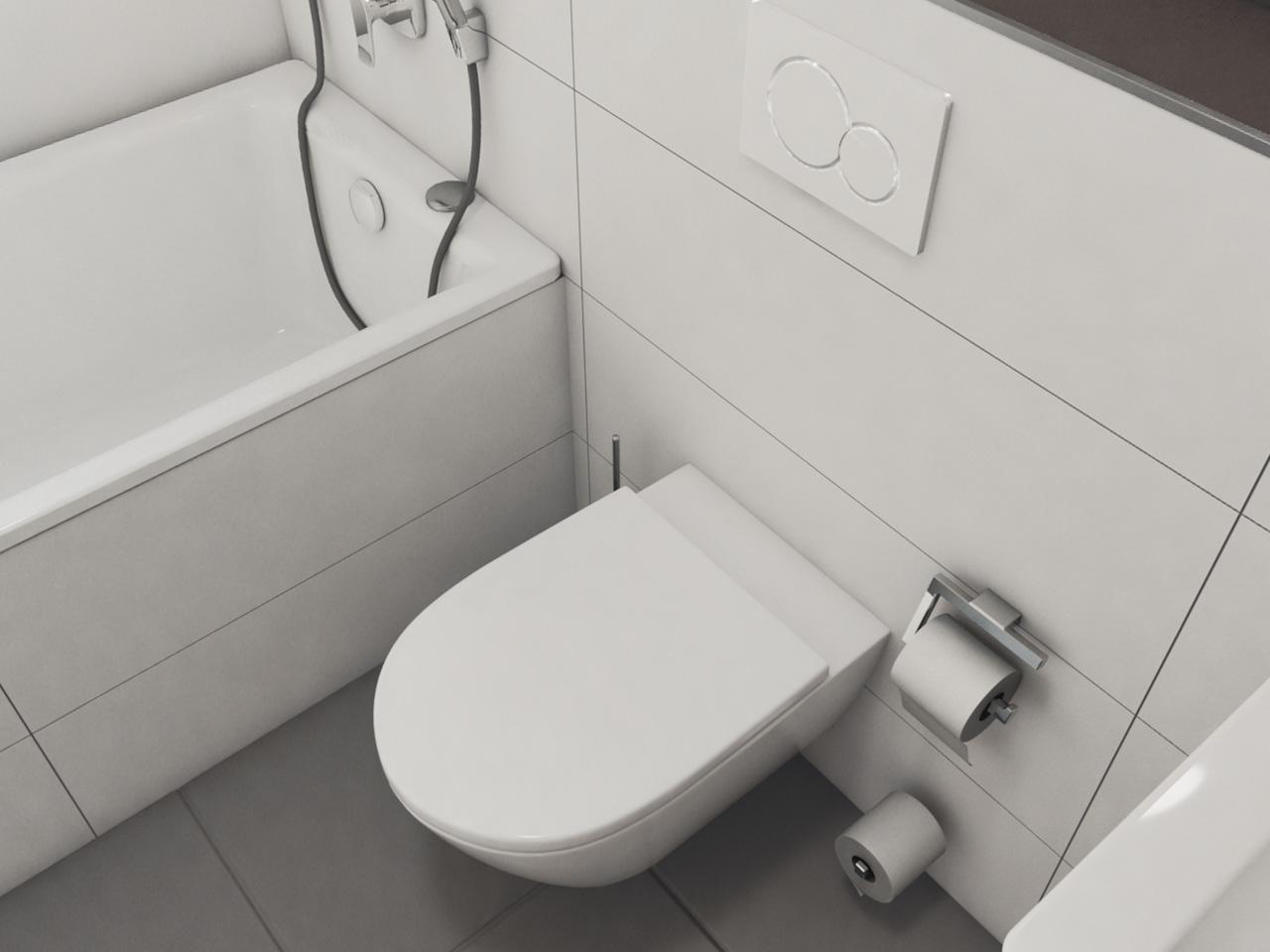 Ansicht Badezimmer mit Waschbecken, Toilette und Badewanne