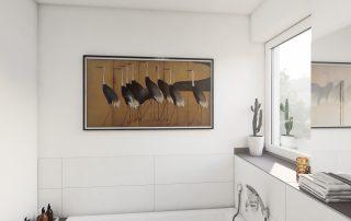 Ansicht eines Badezimmers mit Fenster