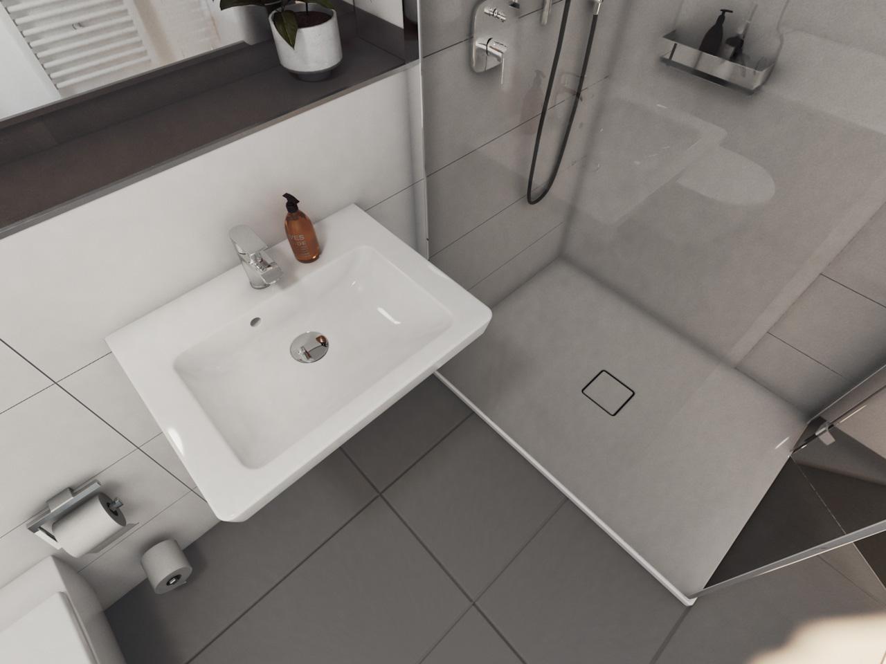 Ansicht einer Duschkabine und eines Waschbeckens