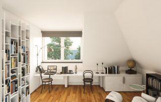 Blick in ein Dachgeschosszimmer mit Fenster