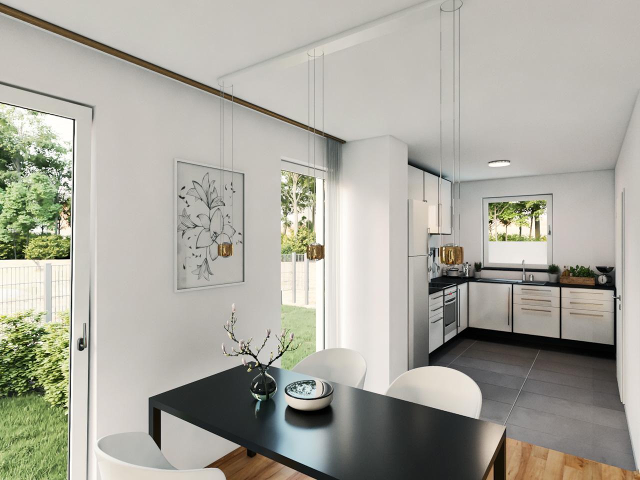 Ansicht eines Esstischs mit L-förmiger Küche im Hintergrund