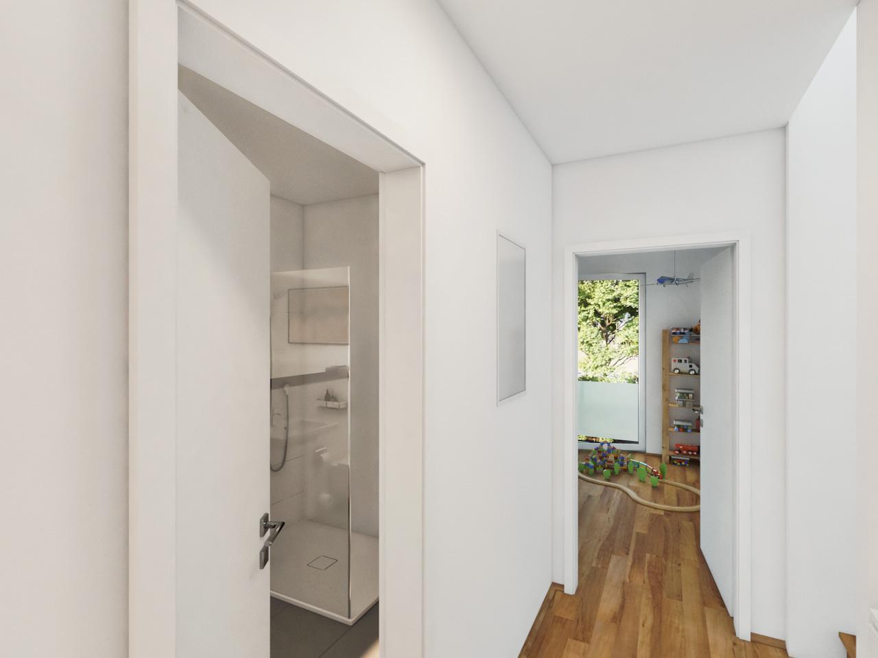 Ansicht eines Flurs mit Blick in Bad und Kinderzimmer