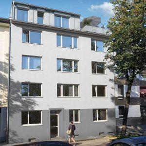 Außenansicht des Wohngebäudes in der Herthastraße in Zollstock