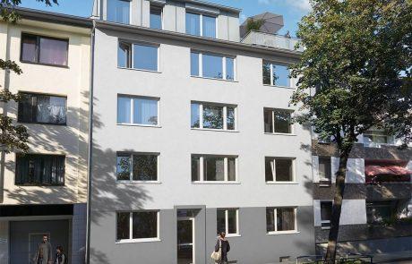 Außensicht des Wohngebäudes in der Herthastraße in Zollstock